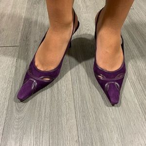 Ann Taylor Purple Suede/Leather Slingback Heels